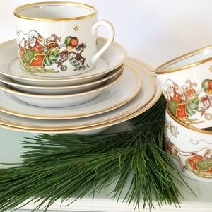 Fitz and Floyd St. Nicholas Pattern Holiday Dishes